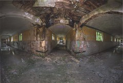 They all lead to capture (Kriegaffe 9) Tags: windows abandoned water decay footprints arches asylum endless corridors