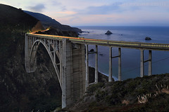 BIXBY (Andrew Louie Photography) Tags: california camera morning bridge pink blue light west green coffee colors beauty sunrise canon photography one 1 coast big highway pacific trails jazz canyon carmel sur bixby