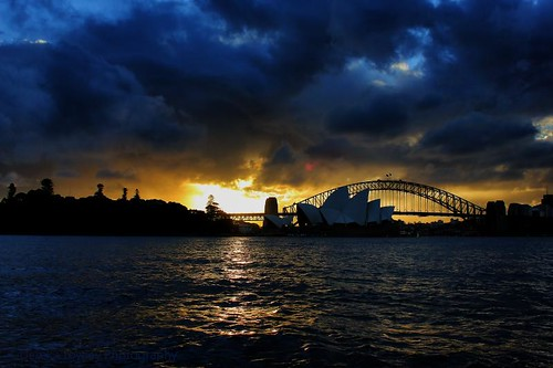 Sydney opera house,harbour bridge sunset silhouette  www.derekcrowleyphotography.com