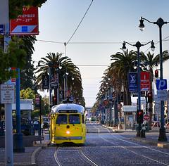 Tram and Tramway (frozenpicture) Tags: ocean sanfrancisco california bridge west ferry port golden bay coast pier gate waterfront tram valley gandhi embarcadero silicon tramway mahatma
