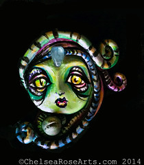 Green Sorceress Pendant (lucidRose) Tags: art acrylic handmade alien goddess polymerclay faery mutant etsy pendant acrylicpainting lucidrose chelsearosearts
