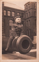 Louis Barker Jaques (1911-1997), 5 years old, Ontario Legislative Building, Toronto (1916) (pellethepoet) Tags: boy toronto ontario canada statue child postcard cannon artillery rppc realphotopostcard ontariolegislativebuilding benwaddington johnsandfieldmacdonald louisbarkerjaques