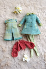 For Anne  Swinging London  (Kikihalb  Forest~Tales ) Tags: london set spring outfit knitting aqua doll dress handmade turquoise ooak pastel tights fresh clothes blythe lime custom argyle cardigan tartan