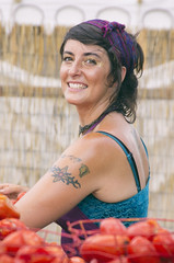 Tomatoe Toss Lass (Burnt Umber) Tags: woman beach girl tattoo female ink chica florida babe chick deerfield brunette tat inked 2014 floridarenaissancefestival ©allrightsreserved rpilla001