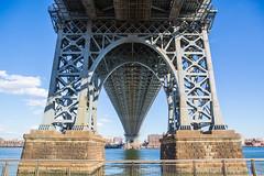 Look Underneath - Williamsburg Bridge (Raymond L.) Tags: city nyc bridge blue sky cloud newyork architecture brooklyn canon landscape landmark williamsburg 5d markiii
