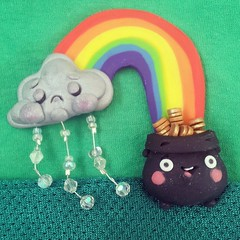 Happy St.Patrick's Day (I Do Cake Toppers) Tags: sculpture valencia rain square rainbow polymerclay squareformat sculpey stpatricksday raincloud potofgold zazzle iphoneography christinapatterson instagramapp uploaded:by=instagram