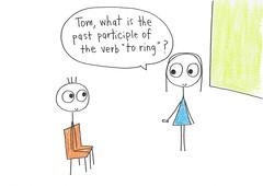 Past Participle (thedailyenglishshow) Tags: boy woman female student classroom cartoon illustrations teacher stickfigure grammar fridayjoke 907fj1