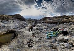 Namibie - Sossus Vlei - 21-04-2014 - 15h59 (Panoramas) Tags: africa panorama sun water clouds swimming landscape soleil nager eau desert ciel nuages paysage contrejour piscine ptassembler afrique dsert sossusvlei serviette vlei namibie sossus sandales multiblend