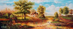 Un Village Tranquille, Art Painting / Oil Painting For Sale - Arteet™ (arteetgallery) Tags: arteet oil paintings canvas art artwork fine arts landscape sky water tree clouds spring travel scenery river lake summer park outdoors outdoor scenic cloud grass trees reflection natural scene maple mountain rural autumn horizon environment sunny day leaves fall tranquil stone yellow ecology countryside color orange cloudy stream landscapes pastorals cyan