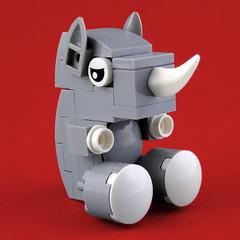 Cuddly Toys: Rhino (Swan Dutchman) Tags: lego toy cuddlytoy stuffedtoy plushtoy plushies snuggies stuffies snuggledanimals stuffedanimals softtoys knuffel knuffelbeest knuffeldier rhino rhinoceros neushoorn