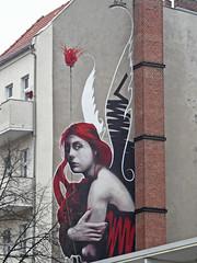 Red Flower (onnola) Tags: berlin deutschland germany guesswhereberlin gwb wandbild wandgemälde mural streetart schornstein chimney fassade balkon balcony facade brandmauer brandwand frau woman rot red xidesign engel angel kreuzberg guessedberlin gwbdanichtfür