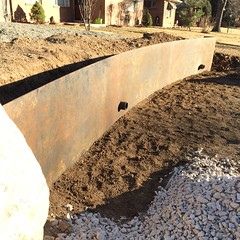 Wall in place (pr_things) Tags: landscaping retainingwall fabrication installation construction crane corten steel