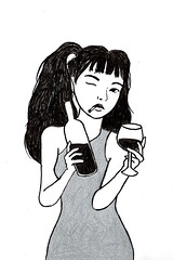 Vices (NATALIETTE!) Tags: girl wine alcoholic booze bottle glass tgif weekend party silver dress bangs ponytail pigtail