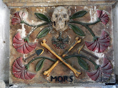 A Carved Wooden Skull & Crossbones in St Grwsts Church in Wales (albatz) Tags: stgrwsts church wales carved wood skull crossbones