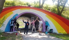 Mural Making on Moccasin Trail (Tomitheos) Tags: dvp doublerainbow rainbowtunnel countryrock torontolandmark graffitiisart muralmaking moccasintrail tomitheosartphotography cnrainbowtunnel torontolongweekend theolefaarupcollectioncopenhagen victoriamirogalleryinlondon scottishartistpeterdoig