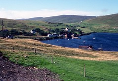 Voe village, Olna Firth (1988) (Duncan+Gladys) Tags: uk scotland shetland voe
