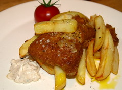 Fish & Chips (Tony Worrall Foto) Tags: uk food fish english dinner tomato lunch fry nice dish image cook tasty plate eaten chips lancashire eat potato meal mayo taste cooked northern chipped grub unhealthy fishandchips iatethis foodie flavour batter foodpictures picturesoffood 2013tonyworrall fishandchipsimage