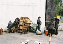 Shanghai (Jaxx Analog) Tags: china street winter people cold colour analog trash hydrant 35mm vintage fire 50mm three flickr shanghai tricycle chinese sunny cardboard ii voigtlnder vitomatic