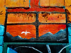 The Door is Open (Steve Taylor (Photography)) Tags: door blue red newzealand christchurch orange streetart black mountains window monster wall angel painting lava mural brighton canterbury drip doorway nz demon southisland portal dripping newbrighton kraken porthills kracken