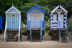 Huts (palimpsest*) Tags: blue beach iso200 wooden steps wells huts 18200mmf3556 focallength75mm nikond300 1400secatf80