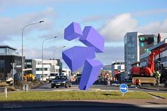 Optical Illusion - Looking East (Sig Holm) Tags: sculpture art iceland artwork september reykjavík opticalillusion ísland islande 2013 listaverk borgartún rafaelbarrios höfðatorg