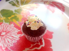 Mini Devil's Food Cupcake (strawberryconfetti) Tags: food cute love cake dessert cupcakes chocolate sprinkles minimuffins devilsfoodcake minicupcakes