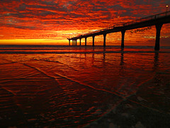 Blood Red Dawn (Steve Taylor (Photography)) Tags: blood red dawn sunrise sunup newzealand newbrighton pier waves lowtide christchurch canterbury supports columns yellow silhouette cloud southisland nz pacific ocean sea coast beach horizon seascape lights lamps stevetaylor