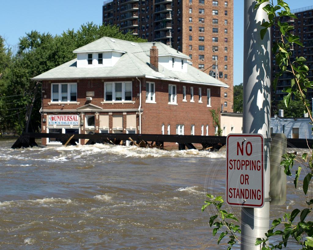 Flooded Alfano Island Bridge Over Passaic River, Paterson, New Jersey  (jag9889) Tags