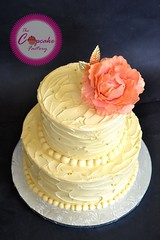 Buttercream Wedding Cake with gumpaste peony (The Cupcake Factory Barbados) Tags: wedding two color cake flavor coconut champagne peony tier buttercream