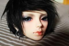 Doll Leave Noir (Haylee Von Leimkhler) Tags: blue black leave hair eyes doll noir head hipster stretch cm elf sd event plug bjd hip 60 dollleave