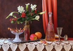 Old New Year (Esther Spektor - Thanks for 8 millions views..) Tags: old flowers winter red stilllife food orange brown white holiday color reflection green art texture apple glass leaves yellow metal fruit composition canon silver scarlet golden amber stand bottle stem beige ceramics pattern berries candy wine calla crystal lace availablelight chocolate curtain january stilleben newyear celebration fantasy vase tray imagination esther drape bouquet runner tabletop bodegon naturemorte goblet artisticphotography naturamorta spektor naturezamorta coth creativephotography artdigital artofimages exoticimage blinkagain estherspektor