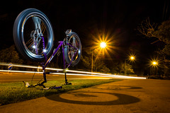 Fat Girl Resting (ibikenz) Tags: longexposure girl bikepath bike bicycle night fat singlespeed resting pugsley surly cyclepath bicyclecommuter fatbike rx100 sonycybershotdscrx100