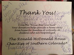 A thank you card from the Ronald McDonald House