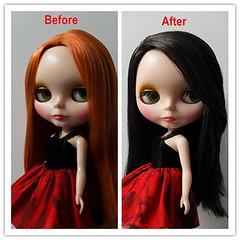 Hair change~~~Part2 (J.LuluLoveBlythe) Tags: red black vintage hair doll dress handmade sewing change blythe neo takara ruff jlululoveblythe