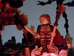 Ourias Rodgort and his Flame Elemental (jgg3210) Tags: castle fire lava lego flames vignette mage elemental lighted lcc minifigure moc vig minifigures galacia classiccastle magesguild willowstone