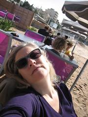 sunshine (Ladybadtiming) Tags: people selfportrait france beach me caf sunshine lady spring sand purple south shades bliss var onehanded mediterrane straphal