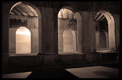 Arches_on_Monroe (CreativeMJP) Tags: film night fineart minneapolis kodaktrix triplet mn voigtlanderbessarf michaeljpeters 105mmhelomar downtwwn