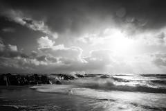 Stormy Sea (lichtschacht-kiel) Tags: sky bw sun storm nature water landscape licht meer wasser waves himmel wolken wave northsea sw landschaft dnemark danmark nordsee gegenlicht wellen sturm xt1 sonnne fuji14mm