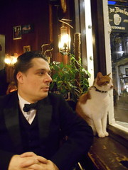 Smoking and the cat (Mark Davids) Tags: 1920s black amsterdam cat vintage smoking blacktie