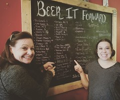 Stephanie gives Beth w/ @BitesnBuzz a #Beer for Free at @railhousebrew in #Aberdeen #NC for being from #Hawaii! #PayitForward (BitesnBuzz) Tags: payitforward aberdeen hawaii nc beer