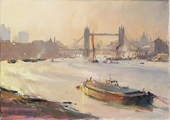 TRC71271 (Kitami Ito) Tags: trc71271 autumn afternoon pool london 1991 oil canvas chamberlaintrevorcontemporaryartist riverscene barge haze thames canal scenes