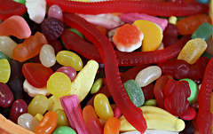 2017: Party Lollies #1 (dominotic) Tags: 2017 sydney australia mixedlollies sweets lolly candy food partylolly confectionery jellybean banana lollyteeth jellysnake muskstick jubes redfrog