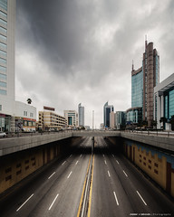 Weekend Morning (Bakar_88) Tags: alkhobar easternprovince saudiarabia sa weather khobar ashsharqiyah city morning road kingfahdroad kingfahadroad asia urban perspective vanishingpoint cityplanning hdr hdri skyline