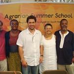 (left to right) Praveen Jha (India), Dzodzi Tsikata (Ghana); Paris Yeros (Brazil); CAS Director Merle Bowen; and Sam Moyo (Zimbabwe) at the African Institute for Agrarian Studies, Harare, Zimbabwe, January 2014