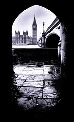 Opening 2 - London City Icon (Big Ben & Parliament) by Simon & His Camera (Simon & His Camera) Tags: bigben westminster london iconic city building tower thames bridge architecture simonandhiscamera composition sky skyline parliament river tunnel urban vignette cloud arch outdoor blackandwhite bw black reflection floor passage contrast light monochrome wet
