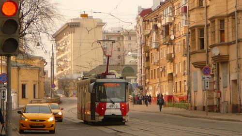 Panasonic DMC-TZ1 taken in 2017. Moscow tram LM-2008 4909