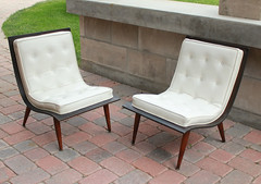 White Scoop Chairs (moxie-girl) Tags: vintage chair 60s 50s tufted moxie midcenturymodern mcm carterbrothers scoopchairs whitescoopchairs