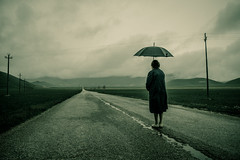 Long road ahead (Alessio Albi) Tags: road cloud field rain umbrella atmosphere plain pioggia umbria norcia castelluccio