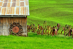 Thing Called Time (Ireena Eleonora Worthy) Tags: old green history barn washington spring rust time wheels fields wa palouse ireenaworthy northernstraitsphotography thingcalledtime