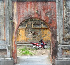 Ancient & Modern---Imperial City, Hue, Vietnam (RebeccaJWoodham) Tags: modern ancient asia vietnam motorcycle walls hue contrasts paradox imperialcity